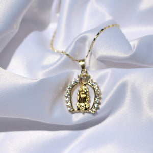 """Lourdes"" gold pendant necklace - Shop First Class"