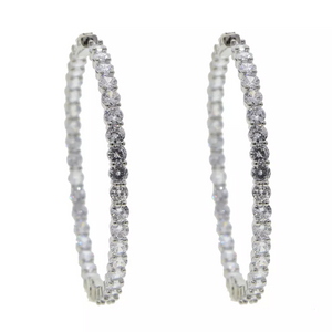 """Lynette"" Large Diamond Huggie Hoops - Shop First Class"