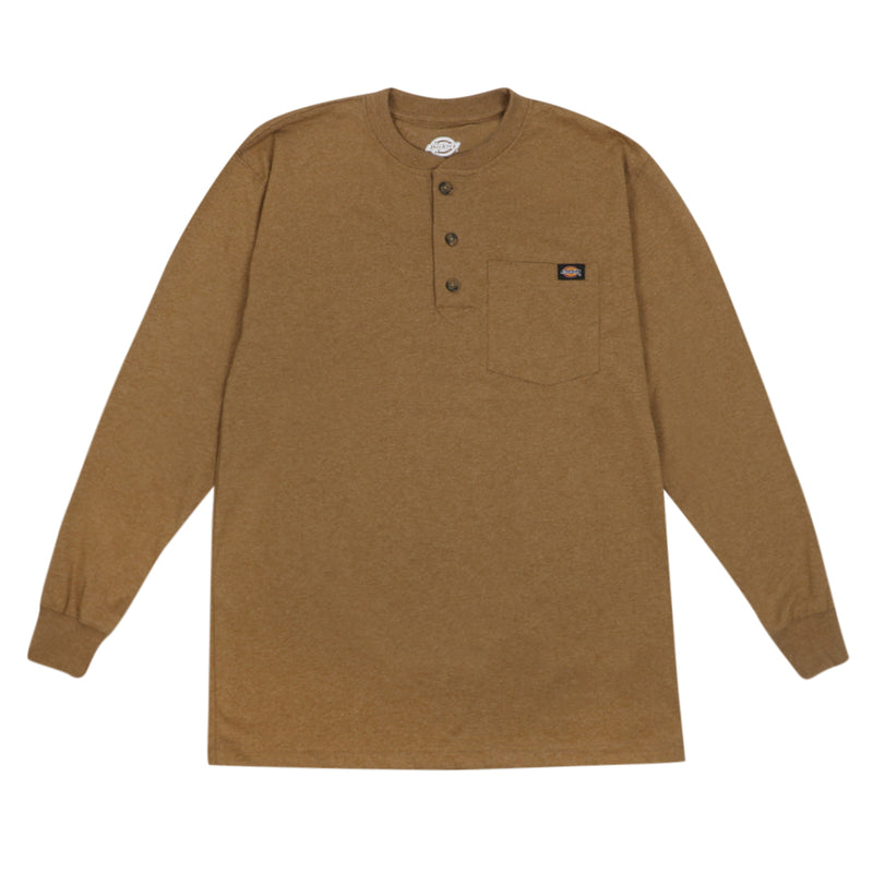Long Sleeve Heavyweight Henley - Brown Heather