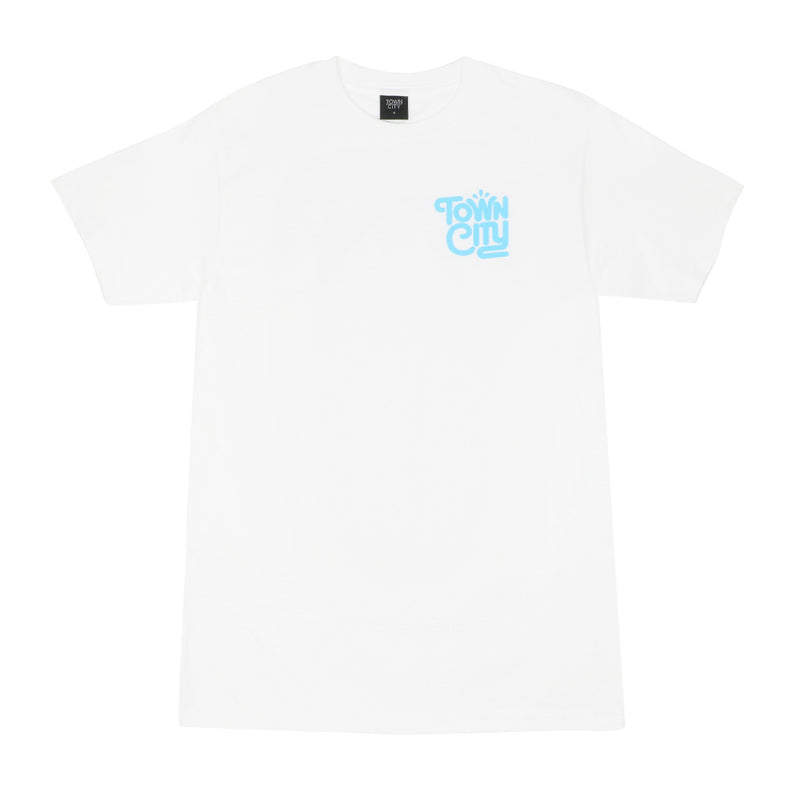 Town City Splash T-Shirt - White/Blue - Town City