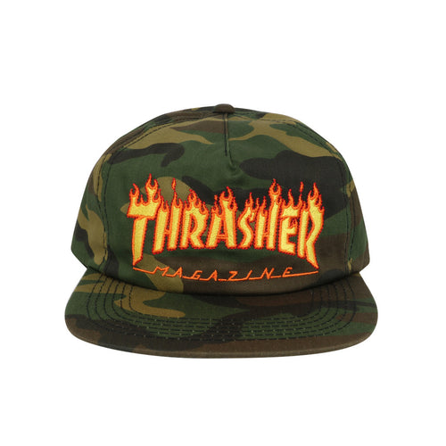 Thrasher Flame Snapback - Camo - Town City