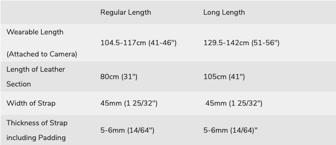 Deluxe 45 Camera Strap Sizing Chart