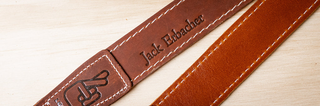 Leather Camera Strap with Embossing