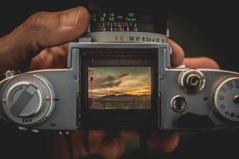 Looking through the film camera viewfinder