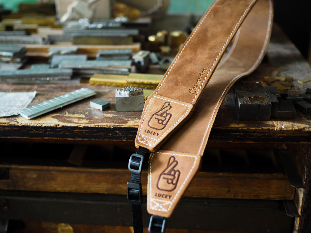 Custom Brown Leather Camera Strap