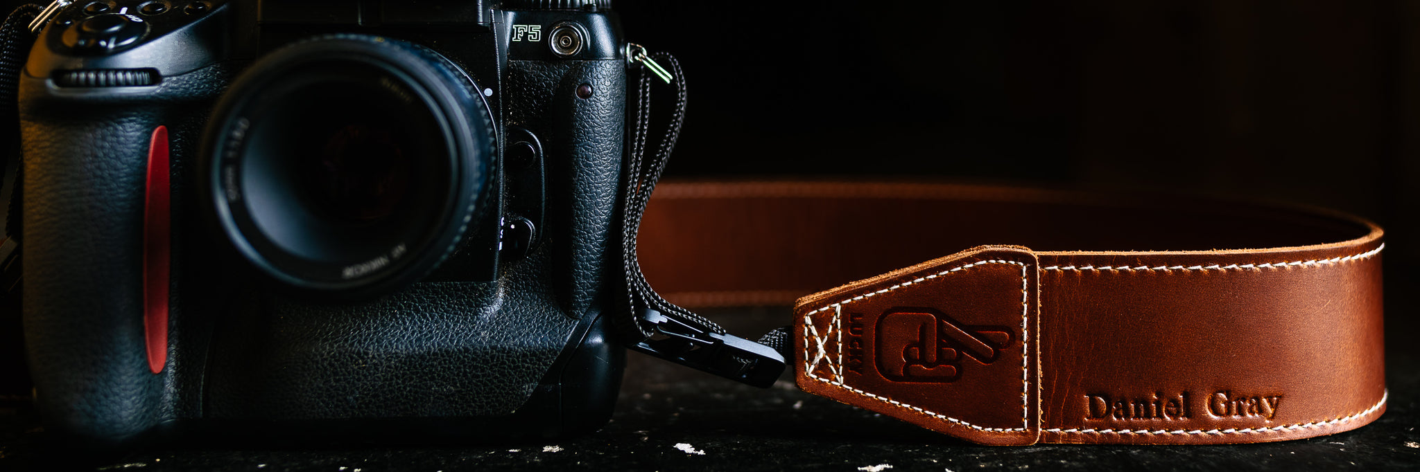 Lucky Camera straps leather embossing with quick release ends