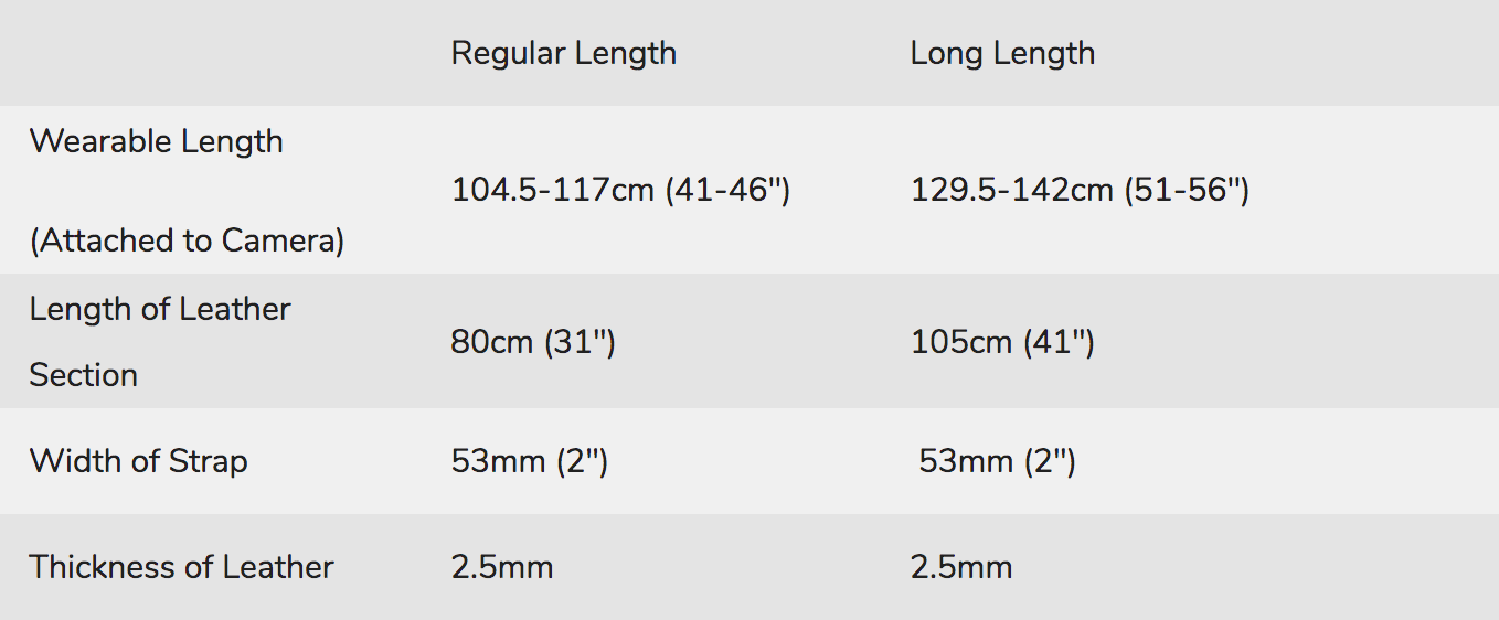Vegan Leather Camera Strap Sizing Chart