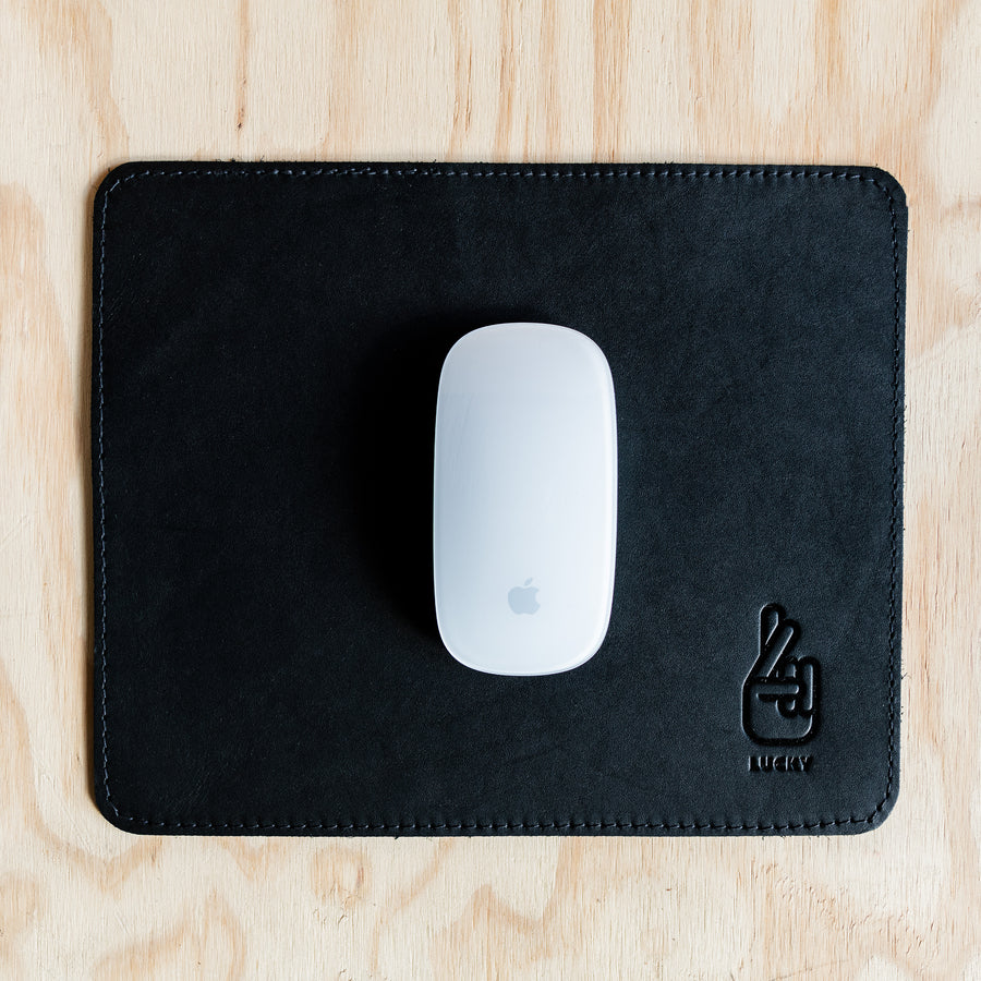 Mouse Pad - Black Leather (8 Stitching Colours)