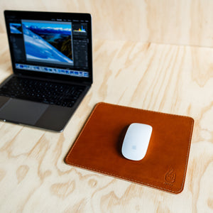 Mouse Pad - Tan Leather