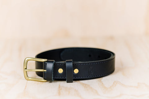The best gift for photographers - Leather Belt - Black with Stitching - Lucky Camera Straps - genuine leather camera strap personalised handmade in Australia  - 1