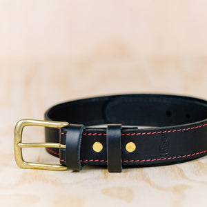 The best gift for photographers - Leather Belt - Black with Red Stitching - Lucky Camera Straps - genuine leather camera strap personalised handmade in Australia  - 1