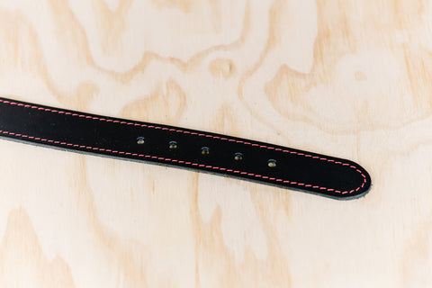 The best gift for photographers - Leather Belt - Black with Red Stitching - Lucky Camera Straps - genuine leather camera strap personalised handmade in Australia  - 4