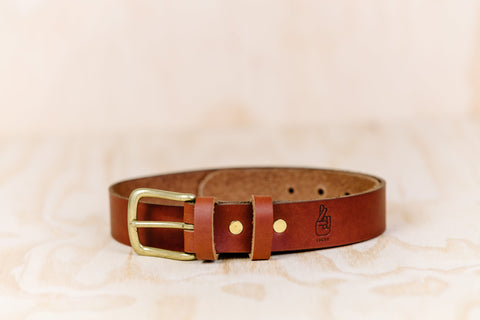 The best gift for photographers - Leather Belt - Natural Brown - Lucky Camera Straps - genuine leather camera strap personalised handmade in Australia  - 1