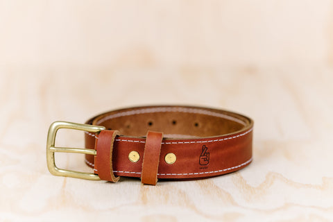 The best gift for photographers - Leather Belt - Natural Brown with White Stitch - Lucky Camera Straps - genuine leather camera strap personalised handmade in Australia  - 1