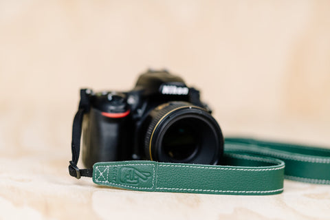 The best gift for photographers - Slim 30 - Classic - Forrest Green - Lucky Camera Straps - genuine leather camera strap personalised handmade in Australia  - 3