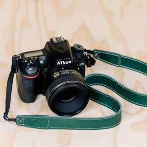 The best gift for photographers - Slim 30 - Classic - Forrest Green - Lucky Camera Straps - genuine leather camera strap personalised handmade in Australia  - 4