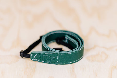 The best gift for photographers - Slim 30 - Classic - Forrest Green - Lucky Camera Straps - genuine leather camera strap personalised handmade in Australia  - 6