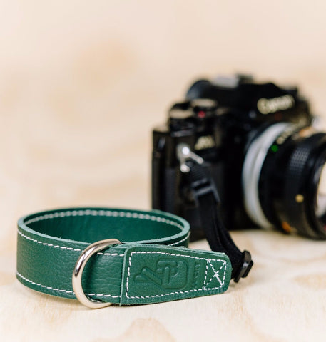 The best gift for photographers - Wrist Strap - Forrest Green - Lucky Camera Straps - genuine leather camera strap personalised handmade in Australia  - 4