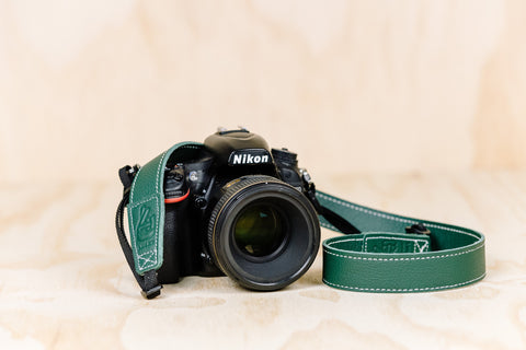The best gift for photographers - Slim 30 - Classic - Forrest Green - Lucky Camera Straps - genuine leather camera strap personalised handmade in Australia  - 1