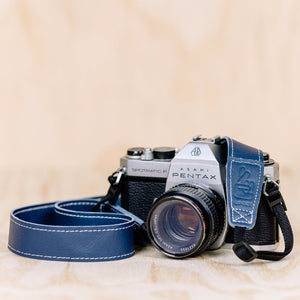The best gift for photographers - Slim 30 - Classic - Ocean Blue - Lucky Camera Straps - genuine leather camera strap personalised handmade in Australia  - 1