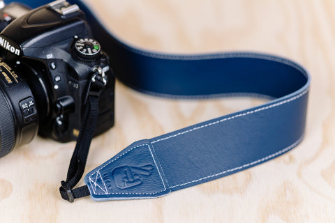 The best gift for photographers - Standard 53 - Classic - Ocean Blue - Lucky Camera Straps - genuine leather camera strap personalised handmade in Australia  - 12
