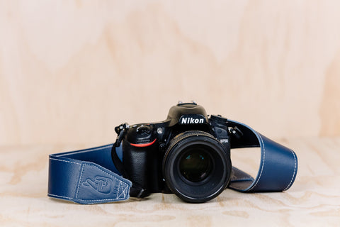 The best gift for photographers - Standard 53 - Classic - Ocean Blue - Lucky Camera Straps - genuine leather camera strap personalised handmade in Australia  - 4