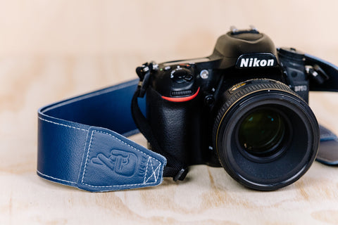 The best gift for photographers - Standard 53 - Classic - Ocean Blue - Lucky Camera Straps - genuine leather camera strap personalised handmade in Australia  - 5