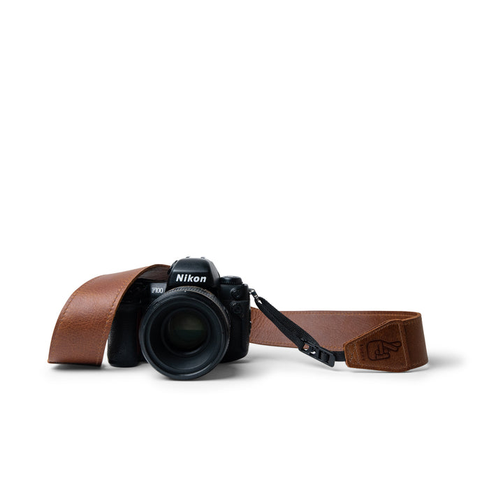 Quick Release Antique Brown Leather Camera Strap on Nikon DSLR