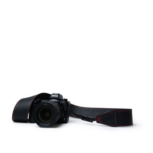 Vintage Black Leather Camera Strap with Red Stitching for Canon Cameras