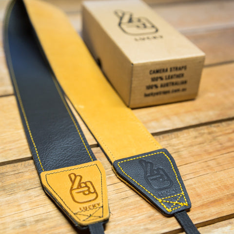 The best gift for photographers - Standard 53 - Classic - Black/Tan Reverse - Lucky Camera Straps - genuine leather camera strap personalised handmade in Australia  - 4