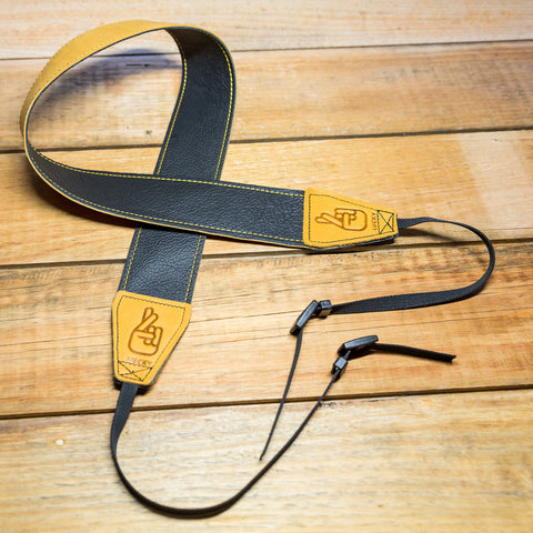 The best gift for photographers - Standard 53 - Classic - Black/Tan Reverse - Lucky Camera Straps - genuine leather camera strap personalised handmade in Australia  - 1