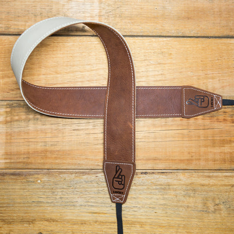 The best gift for photographers - Standard 53 - Classic - Brown/Bone - Lucky Camera Straps - genuine leather camera strap personalised handmade in Australia  - 1