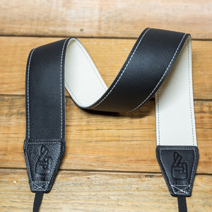 The best gift for photographers - Standard 53 - Contrast - White/Black - Lucky Camera Straps - genuine leather camera strap personalised handmade in Australia  - 1
