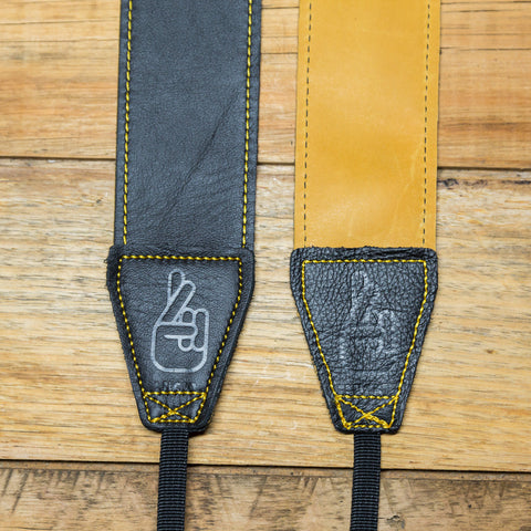 The best gift for photographers - Standard 53 - Contrast - Tan/Black - Lucky Camera Straps - genuine leather camera strap personalised handmade in Australia  - 2