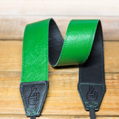 The best gift for photographers - Standard 53 - Contrast - Green/Black - Lucky Camera Straps - genuine leather camera strap personalised handmade in Australia  - 2