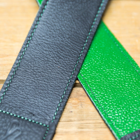 The best gift for photographers - Standard 53 - Contrast - Green/Black - Lucky Camera Straps - genuine leather camera strap personalised handmade in Australia  - 4
