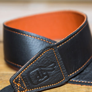 The best gift for photographers - Standard 53 - Contrast - Orange/Black - Lucky Camera Straps - genuine leather camera strap personalised handmade in Australia  - 1