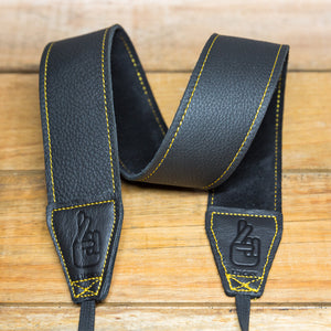 The best gift for photographers - Standard 53 - Grip - Yellow/Black - Lucky Camera Straps - genuine leather camera strap personalised handmade in Australia  - 1