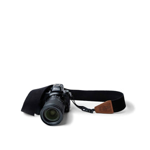 Quick Release Camera Sling in Black Cotton and Brown Leather