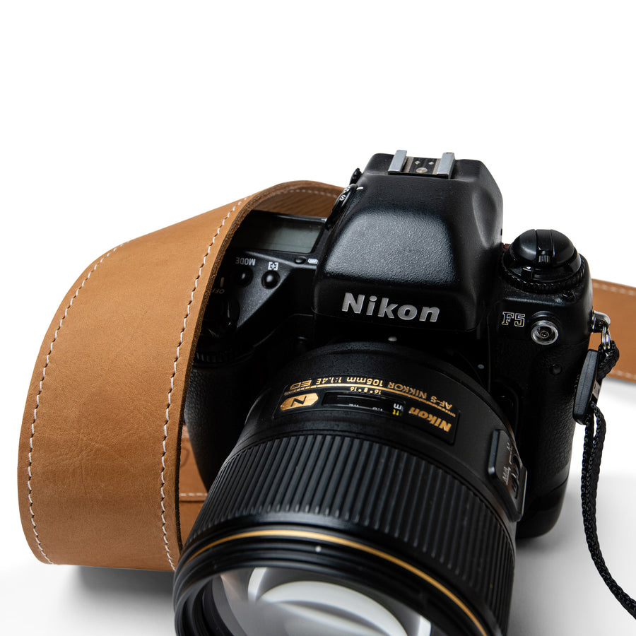 Custom personalised leather camera strap by Lucky Straps