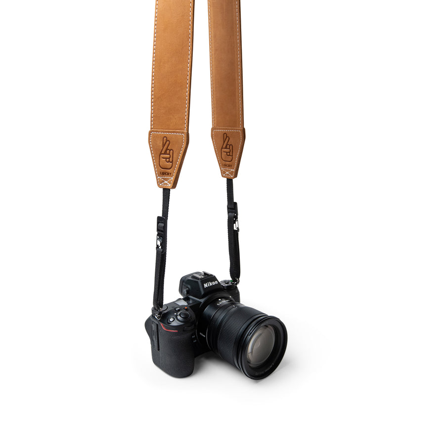 Lucky Straps Standard 53 Desert Tan Leather Camera Strap with Quick Release Australian Made
