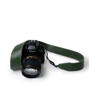 Nikon F5 Camera with Green Leather Camera Strap by Lucky Straps