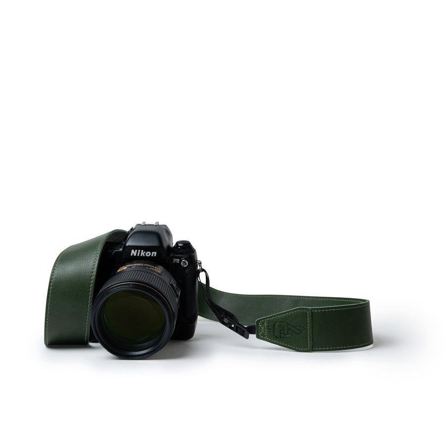Green Leather Camera Strap Personalised Gift for Photographers by Lucky Straps