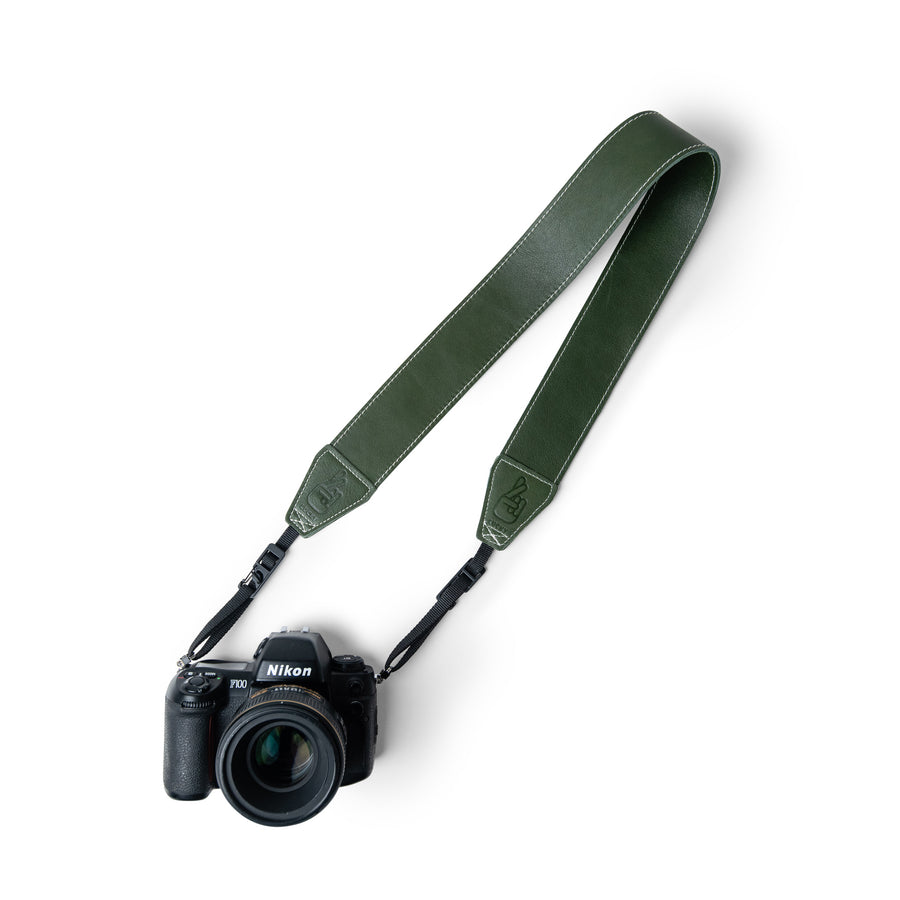 Anti-Theft Green Leather Camera Straps for Travelling Photographers and Vloggers