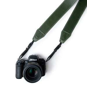 Green Leather Camera Strap Personalised Gift for Photographers