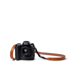 Nikon F5 Vintage Film Camera with Tan Leather Camera Strap by Lucky Straps