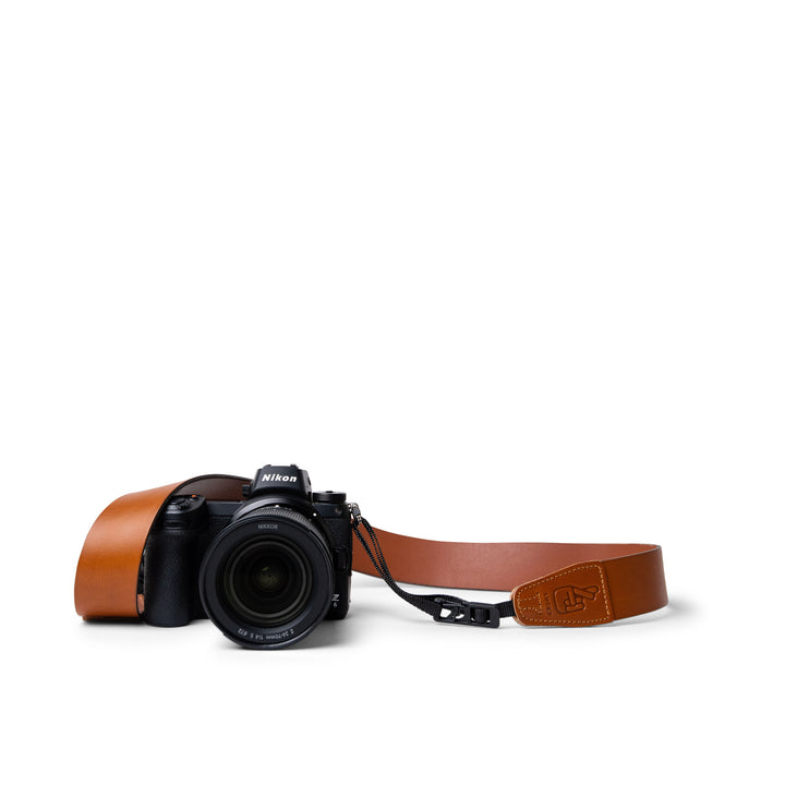 Lucky Straps Simple 40 Camera Strap in Tan Leather with New Design Quick Release System
