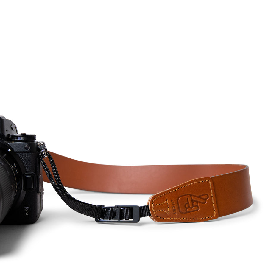 Close up of Lucky Straps quick release system on leather camera strap