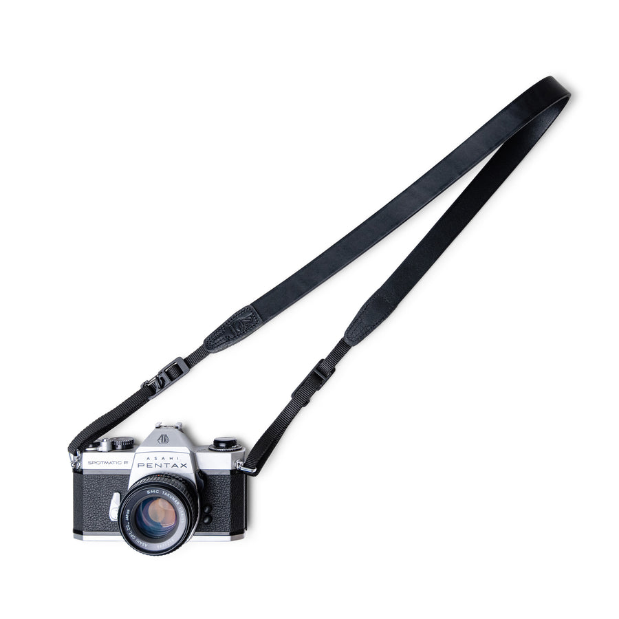 Black Leather Camera Strap with Personalisation for Photography Gift