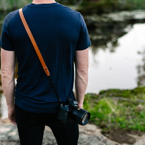 Tan Leather Camera strap for Mirrorless and Vintage Film Cameras